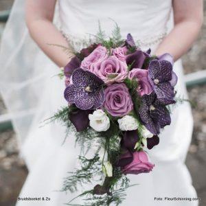 bruidsboeket druppel Vanda calla paars roze DenHaag