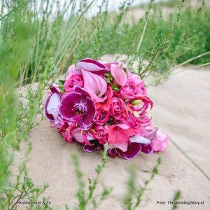 bruidsboeket fuchsiaroze calla vanda DenHaag fotograaf